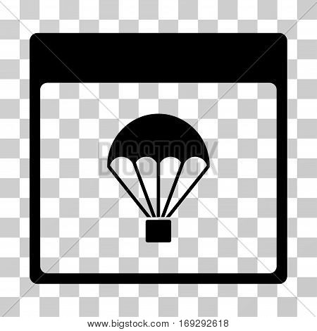 Parachute Calendar Page icon. Vector illustration style is flat iconic symbol black color transparent background. Designed for web and software interfaces.
