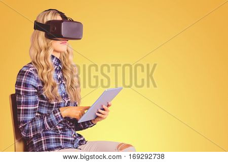 Pretty casual worker using oculus rift against yellow vignette