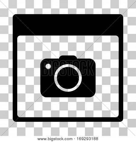 Photo Camera Calendar Page icon. Vector illustration style is flat iconic symbol black color transparent background. Designed for web and software interfaces.