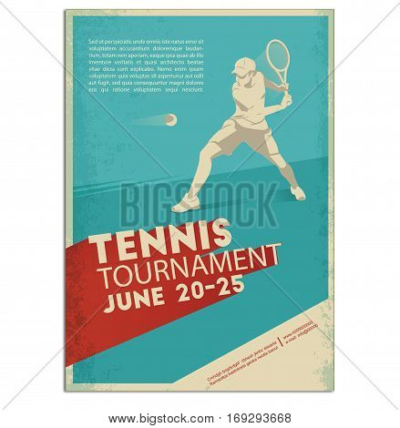 Poster, Flyer in Retro Style.Tennis player . Text and background on a separate layer, color can be changed in one click. Tennis player