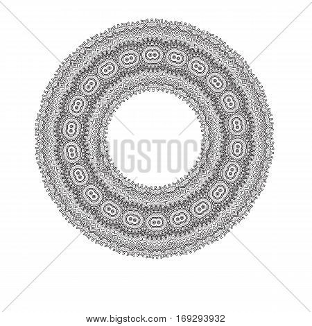 Geometric circle element. Mandala for decoration holiday cards, background and sites. Kaleidoscope, medallion, yoga, India, arabic. Page for coloring book