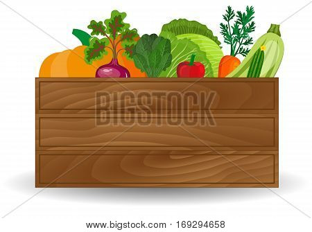 Healthy freshly harvested vegetables in a wooden crate and grocery shopping concept banner. Wooden box with fresh vegetable
