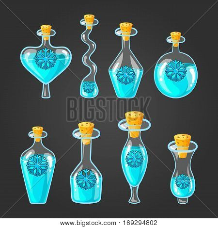 Set with bottles of frozen potion, magic elixir. Game design illustration