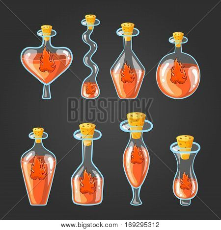 Set with different bottles of flame potion, magic elixir. Game design illustration