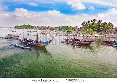 Catamaran-boats on a water near the shore. Sri lanka