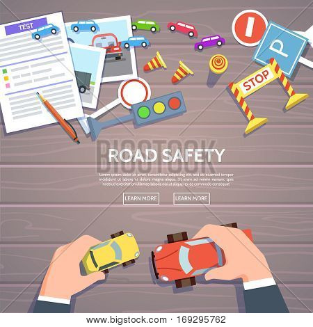 Road safety template with play car road symbols. Vector illustration drivers education in flat style. Hand control car top view-traffic laws concept.