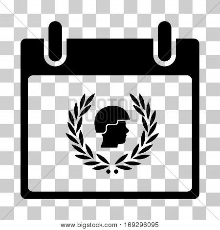 Soldier Laurel Wreath Calendar Day icon. Vector illustration style is flat iconic symbol black color transparent background. Designed for web and software interfaces.