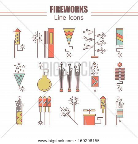 Colorful vector fireworks icons. Festival or party elements. Line carnival illustration. Firecracker set. Entertainment decorating. Cartoon surprise flat pictogram. Show spark symbols