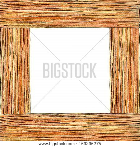 Raster sketchy wooden frame. Special for rustic, furniture and natural themes, design element, printed goods.