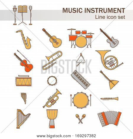 Musical colorful instruments icons set isolated. Vector classic element illustration. Saxophone cello horn guitar piano harp and others silhouette collection. Modern line style.