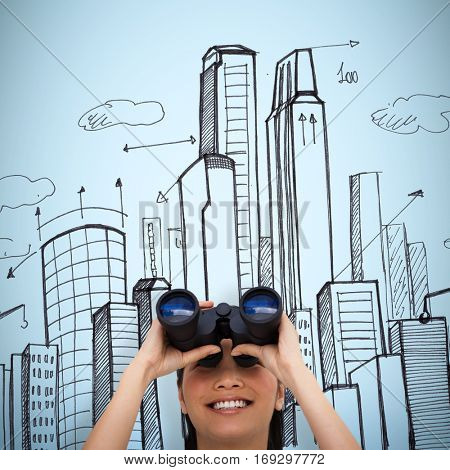 Visionary businesswoman looking through binoculars against blue background
