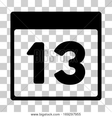 Thirteenth Calendar Page icon. Vector illustration style is flat iconic symbol black color transparent background. Designed for web and software interfaces.