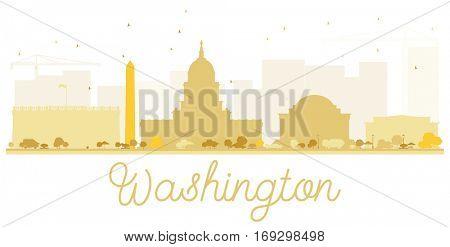 Washington DC City skyline golden silhouette. Vector illustration. Simple flat concept for tourism presentation, banner, placard or web site. Business travel concept. Cityscape with landmarks.