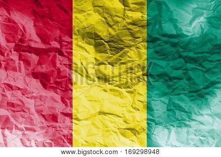 Guinea flag ,Guinea national flag 3D illustration symbol.
