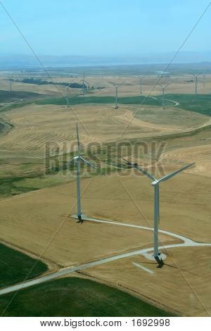Aerial Of Windmill Turbines Electric Power