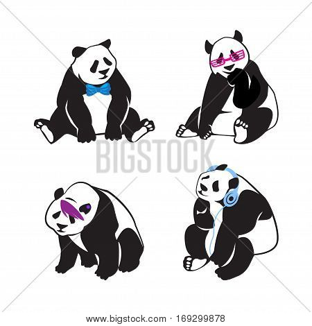 Set of panda bears with color human accessories. Vector illustration