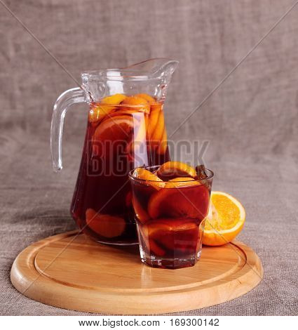 Cold Refreshing Drink From Berries In Glasses On The Wooden Table