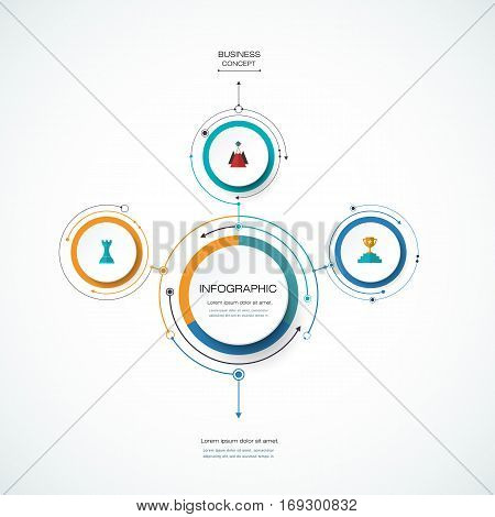 Vector Infographic 3D circle label design template with arrows sign and 3 options or steps. Infographics for business, presentations or information, banner, process, diagram, flow chart, graph, scheme