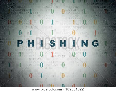 Protection concept: Painted blue text Phishing on Digital Data Paper background with Binary Code