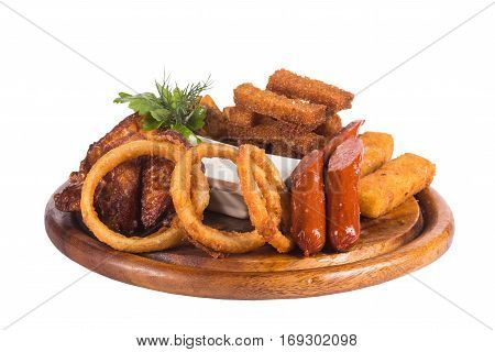 Deep Fried Onion Rings, Cheese Balls, Potato Chips, Bacon Chips and Tar-tar Sauce