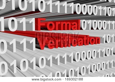 formal verification in the form of binary code, 3D illustration