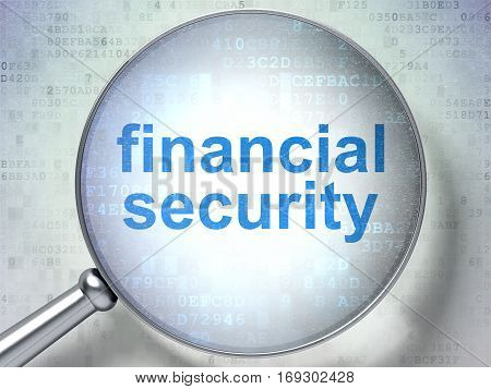 Protection concept: magnifying optical glass with words Financial Security on digital background, 3D rendering