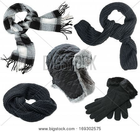 Black winter clothes set on white background