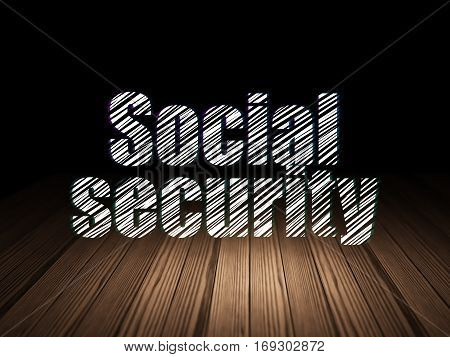 Protection concept: Glowing text Social Security in grunge dark room with Wooden Floor, black background