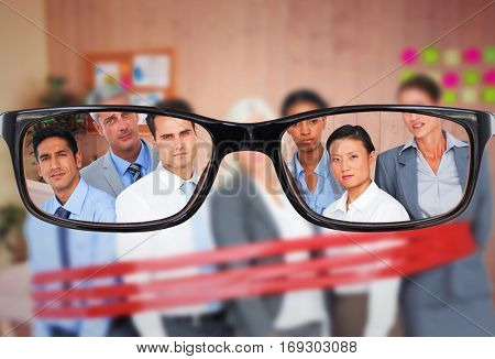 Unhappy business people surrounding by red strip against creative office with cool wooden paneling