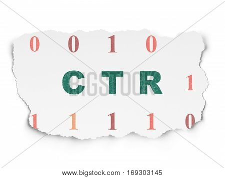 Business concept: Painted green text CTR on Torn Paper background with  Binary Code