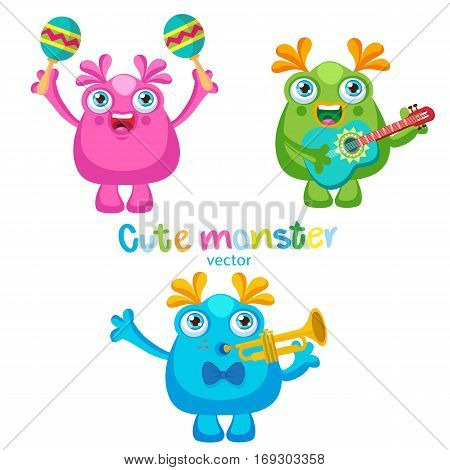 Holiday Everyday. Cute Monsters Music Players Vector Set. Luck Cartoon Mascot On A White Background. Monsters With Guitar Trumpet Maracas.