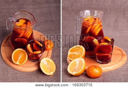Collage Cold Refreshing Drink From Berries In Glasses On The Wooden Table