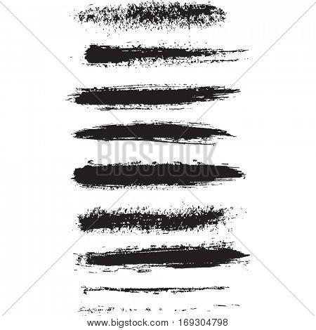 Set of grunge black ink brush strokes