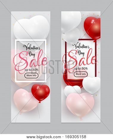 Beautiful vector Valentines Day Sale template with realistic pink, red and white balloons and calligraphic text. Many colorful romantic baloons flying over bright background.