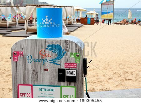 DUBAI UAE - JANUARY 24: Spray-on sunscreen machine