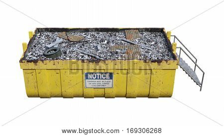3D rendering of a waste container isolated on white background