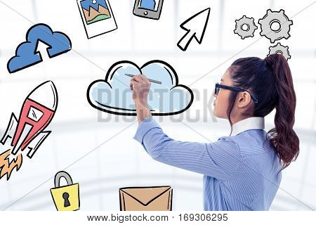 Businesswoman holding disposable cup and looking at wall with notes against cloud computing doodle