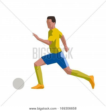 Running soccer player in yellow jersey, flat vector icon