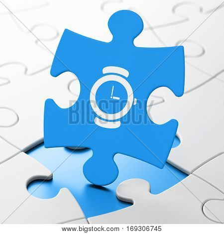 Time concept: Hand Watch on Blue puzzle pieces background, 3D rendering