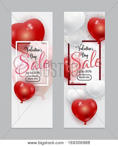 Beautiful vector Valentines Day Sale template with realistic red, white and pink balloons and calligraphic text. Many colorful romantic baloons flying over bright background.