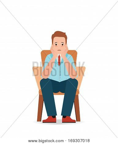 Anxious man feeling sadness and stress sitting on the chair isolated on white cartoon character vector illustration.
