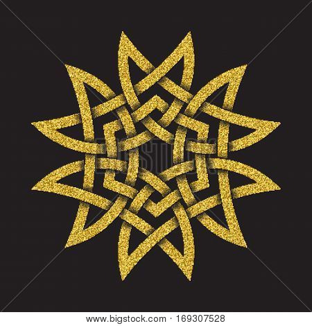 Golden glittering logo symbol in Celtic style on black background. Tribal symbol in hexagonal mandala form. Gold stamp for jewelry design.