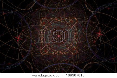 abstract image of fine lines beige intertwined in intricate patterns and turns into a symbol in the form of a square with four petals and red stars around on a black background.