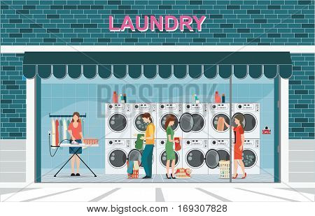 Building exterior front view and interior of laundry room with row of industrial washing machines and facilities for washing clothes Laundry service banner concept vector illustration.
