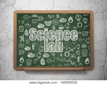 Science concept: Chalk White text Science Lab on School board background with  Hand Drawn Science Icons, 3D Rendering