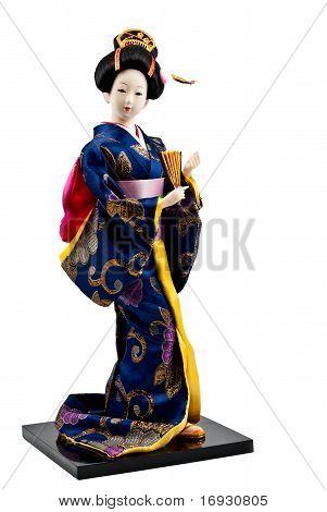Japanese geisha doll  isolated on white