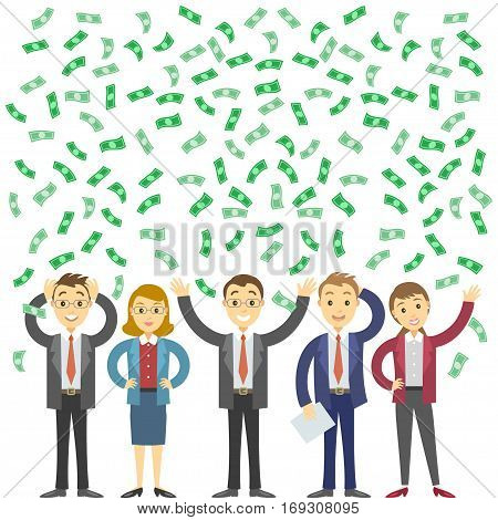 Happy business people rejoicing success with dollars banknotes flying in the air. Business success concept vector cartoon illustration