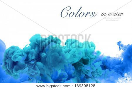Acrylic colors and ink in water. Abstract frame background. Isolated on white.