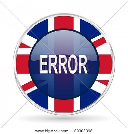 error british design icon - round silver metallic border button with Great Britain flag