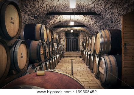 Very high resolution rendering of an ancient wine cellar
